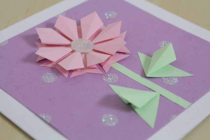 Easy Mother's Day Card DIY Origami Flowers Paper
