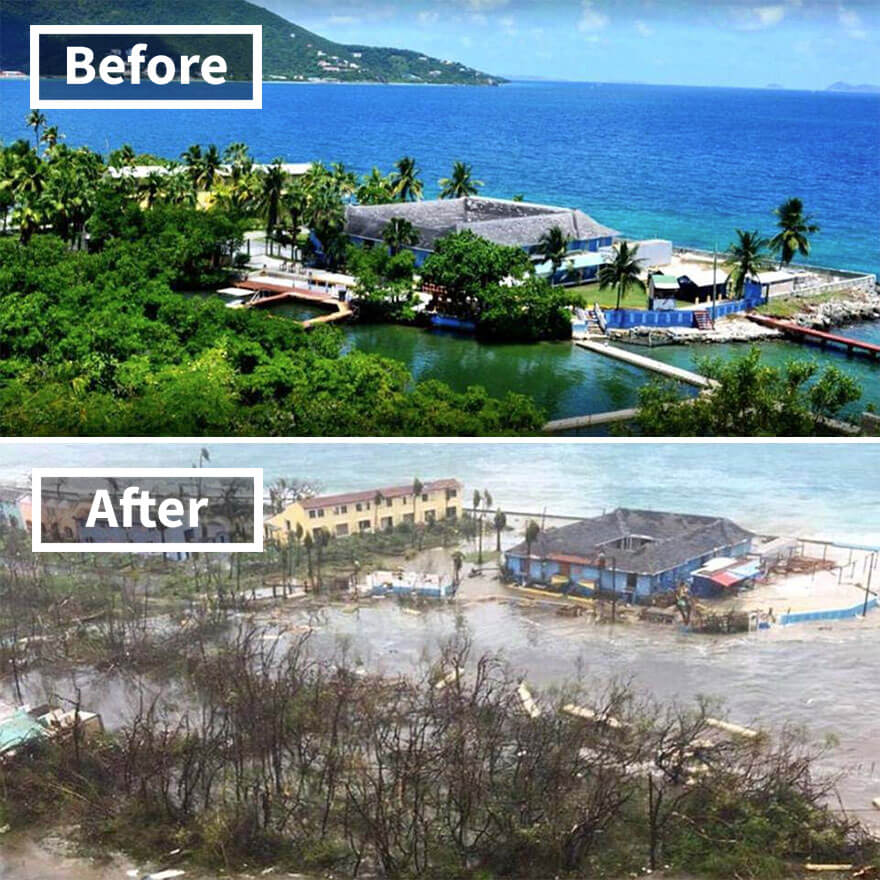 30 Shocking Pictures That Show How Catastrophic Hurricane Irma Is - Dolphin Discovery Attraction On Tortola In The Virgin Islands (Before And After Irma Damage)