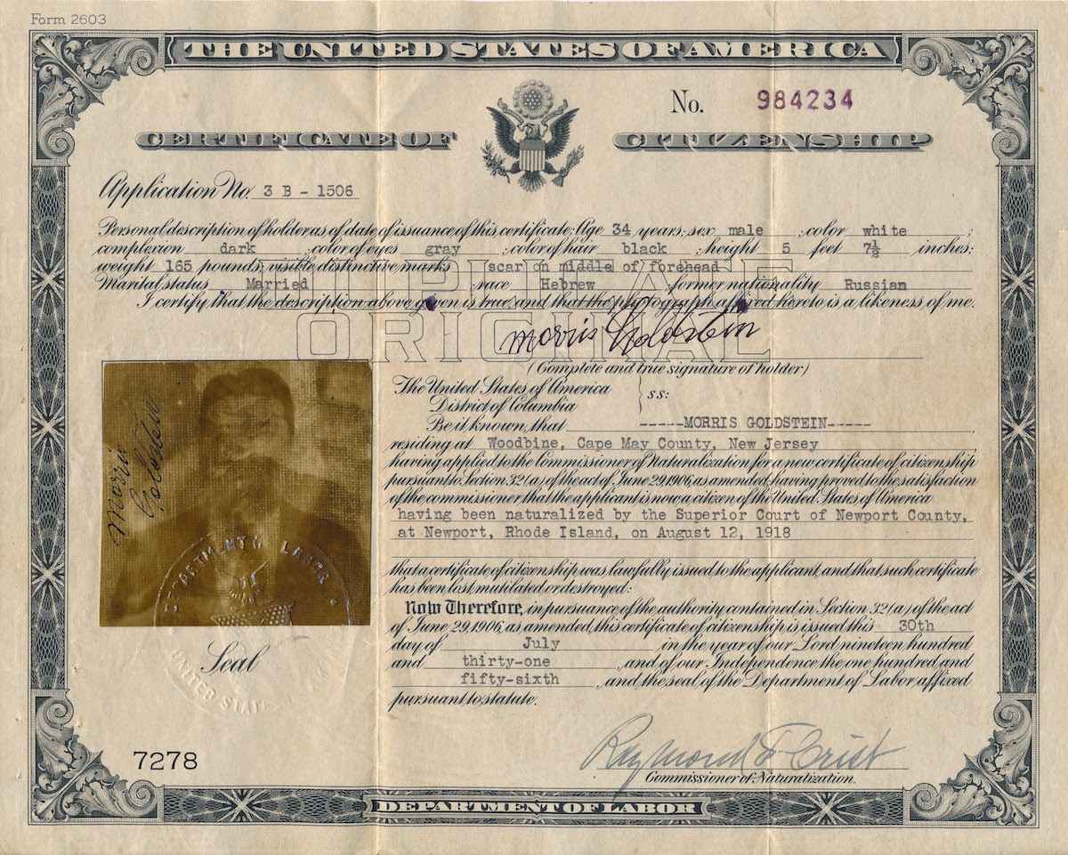 A jewish genealogy journey certificate of citizenship for morris following is the transcription of morris goldsteins certificate of citizenship with typed or handwritten information in blue and my notes in brackets xflitez Choice Image