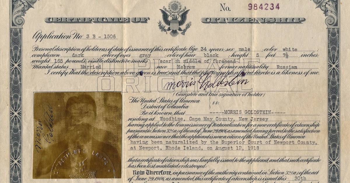 A Jewish Genealogy Journey Certificate Of Citizenship For Morris
