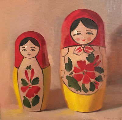 """Red Heads"" 10x10 inches, oil on canvas by Sarah Sedwick 2019"
