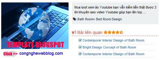 bài viết liên quan có vị trí đặt quảng cáo cho blogspot
