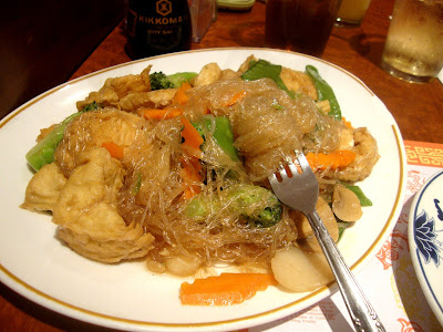 crystal noodles with fried tofu and vegetables