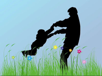 silueta padre e hijo