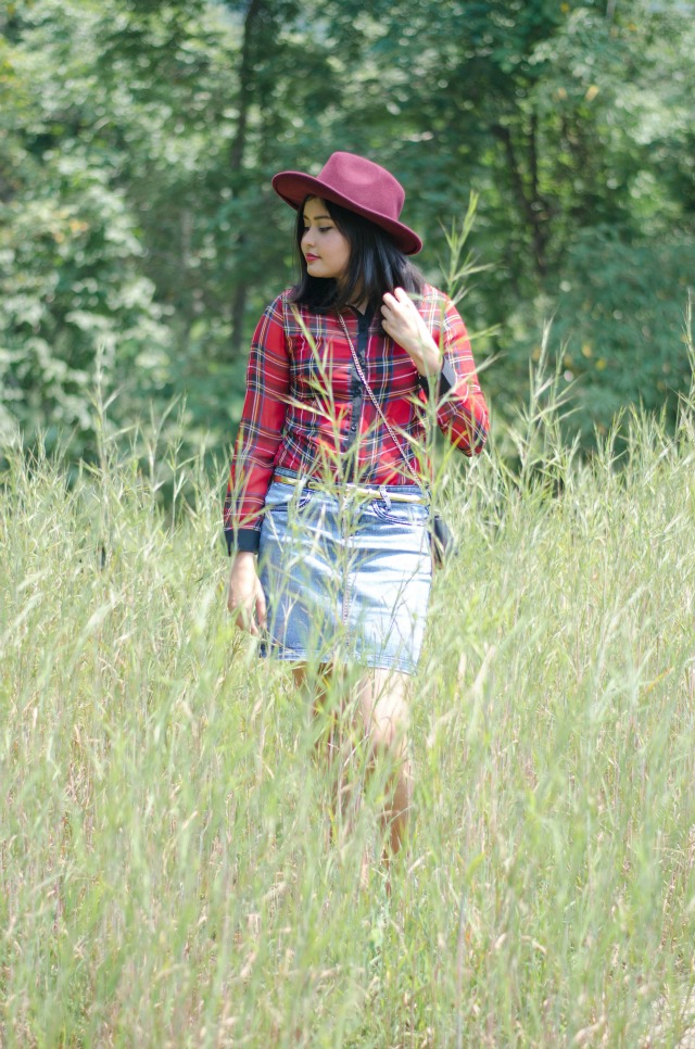 plaid blouse in the woods