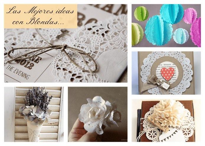 blondas de papel en usos decorativos