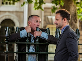 Jonny Lee Miller and Sean Pertwee as Sherlock Holmes and Gareth Lestrade in CBS Elementary Season 2 Episode 1 Step Nine