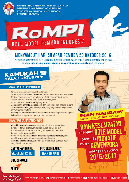 Sambut Hari Sumpah Pemuda 28 Oktober 2016, Kemenpora Mencari Role Model Pemuda Inovatif (RoMPI)