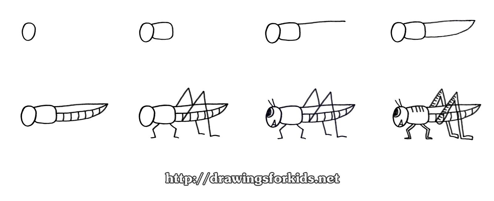 Рисунки кузнечика для детей легкие рисунки