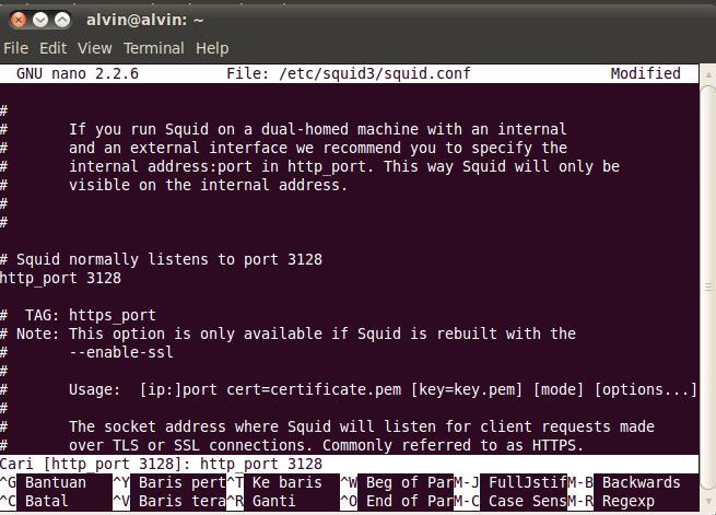 Instalasi dan configure squid3 sebagai proxy server ...
