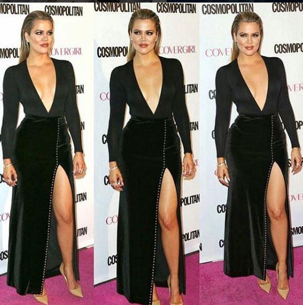 Kloe Kardashian vestido com fenda