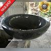 Wastafel marmer tulungagung bulat hitam halus asli batu alam diameter 40 cm