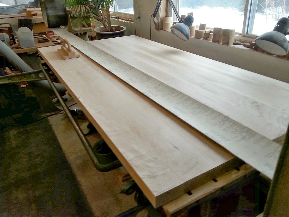 Sanding DIY Solid Wood Counters