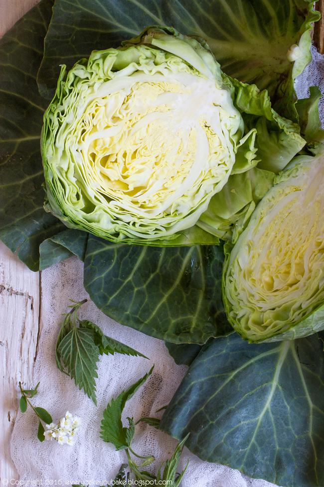 wiosenna zupa gulaszowa z młodej kapusty ze schabem i pokrzywą