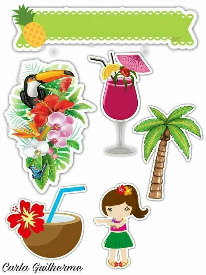 Fiesta Hawaiana Toppers Para Tartas Tortas Pasteles Bizcochos O