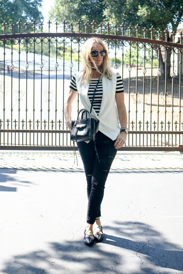black and white striped style