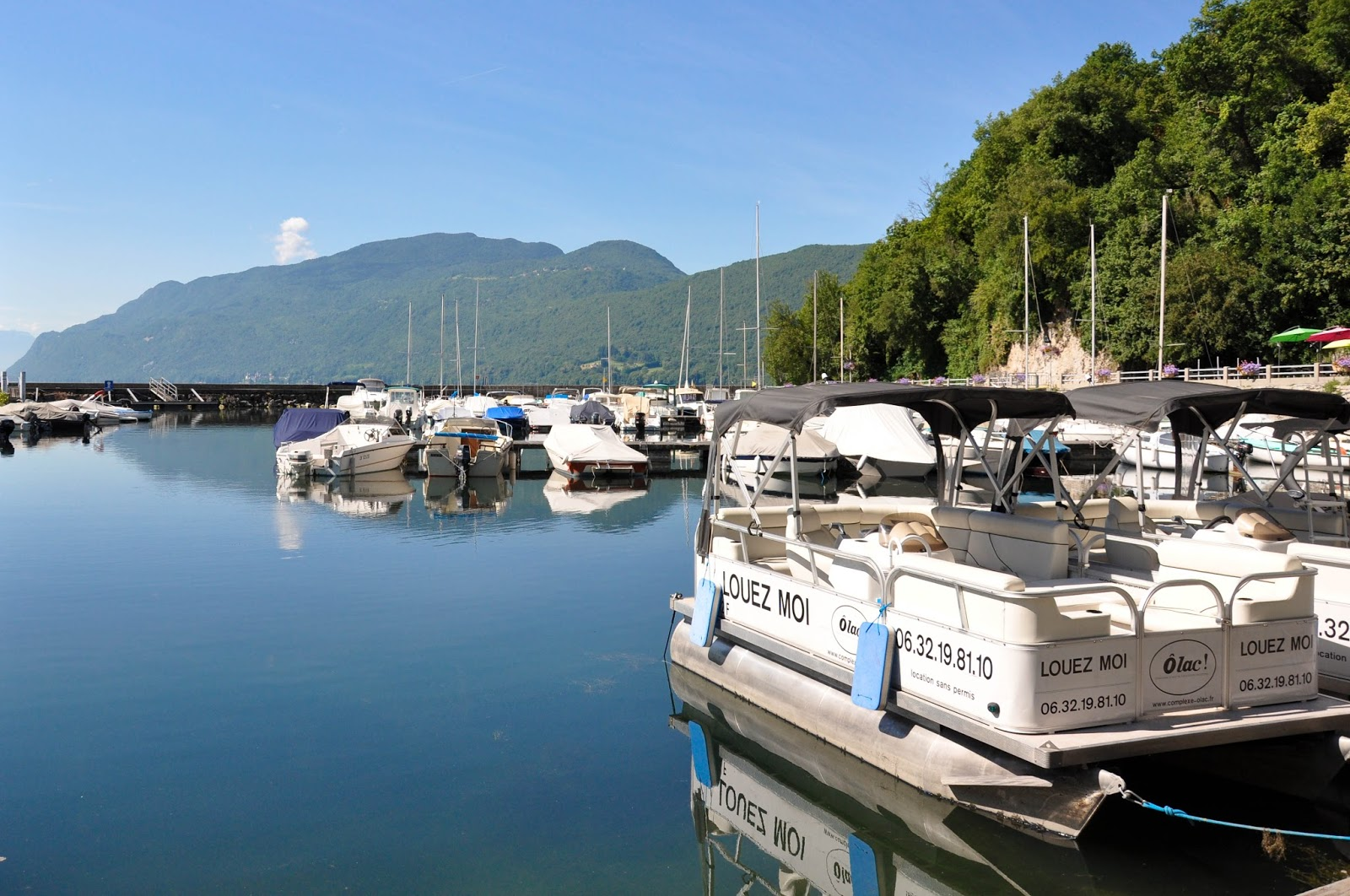 Rental boats on the shores of Lake Bourget, France's largest lake