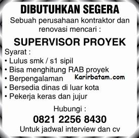 Lowongan Kerja Supervisor Proyek