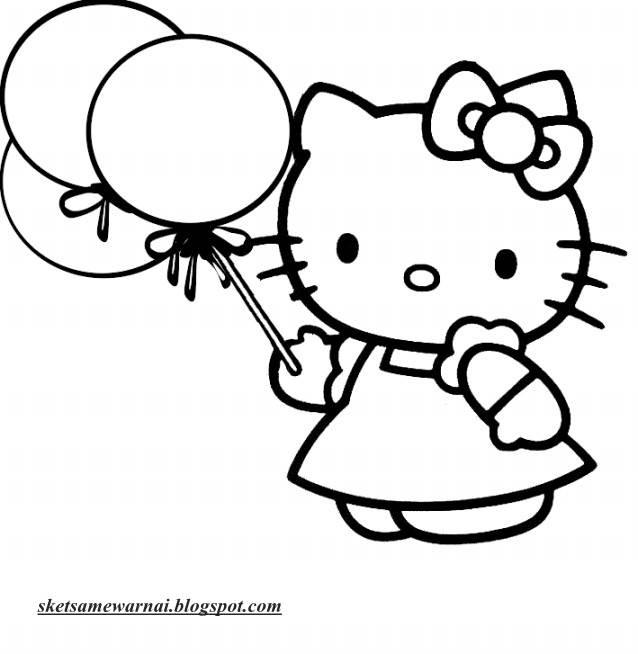 Sketsa Mewarnai Gambar Hello Kitty Sketsa Mewarnai