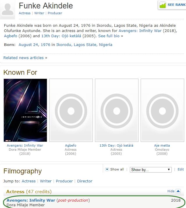 Nigerian Actress Funke Akindele Gets Dora Milaje Member Role In Marvel's Avengers: Infinity War