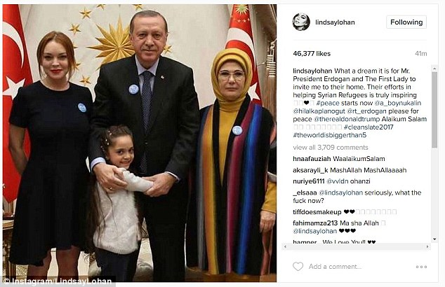 Lindsay Lohan instagrammed her visit with Turkish President Recep Tayyip Erdogan, his wife and 7-year-old blogger Bana al-Abed on Friday
