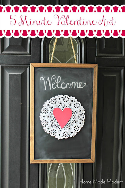 $5 Valentine chalkboard art for your front door