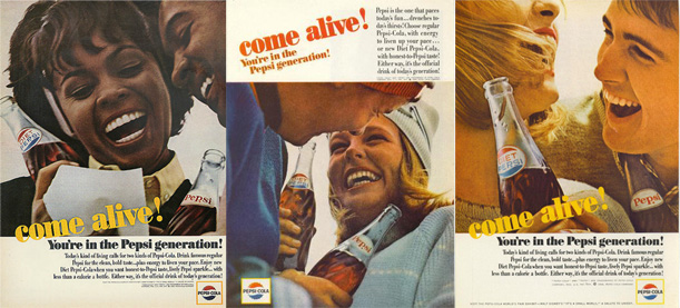 Hoping to capture younger buyers, Pepsi's come alive advertisements. Proof that beautiful young people on dates drink Pepsi. 1960s