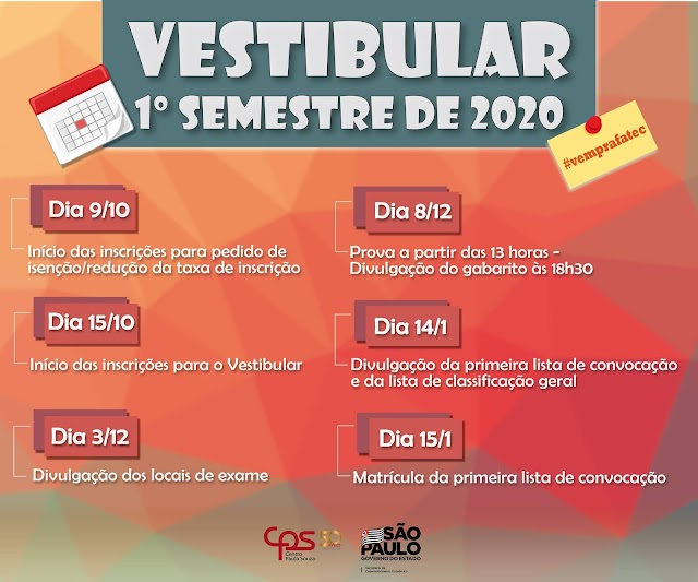 Com ensino superior gratuito, FATEC divulga calendário 2020