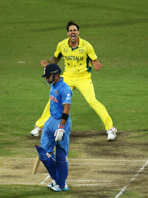 Mitchell Johnson Dismisses Virat Kohli in 2015 Cricket World Cup Semi-Final