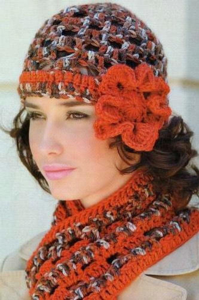 Conjunto Gorro y Bufanda Vintage Crochet-Tricot