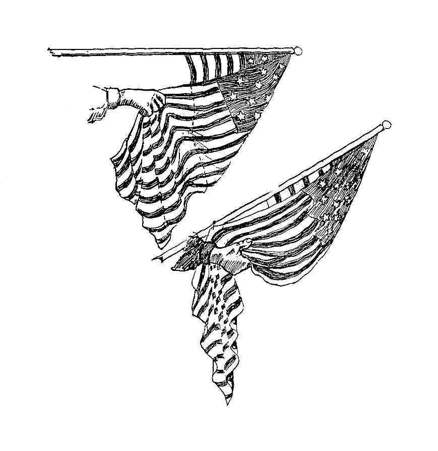4th Of July Clip Art Vintage Illustration Decoratively Draped American Flag