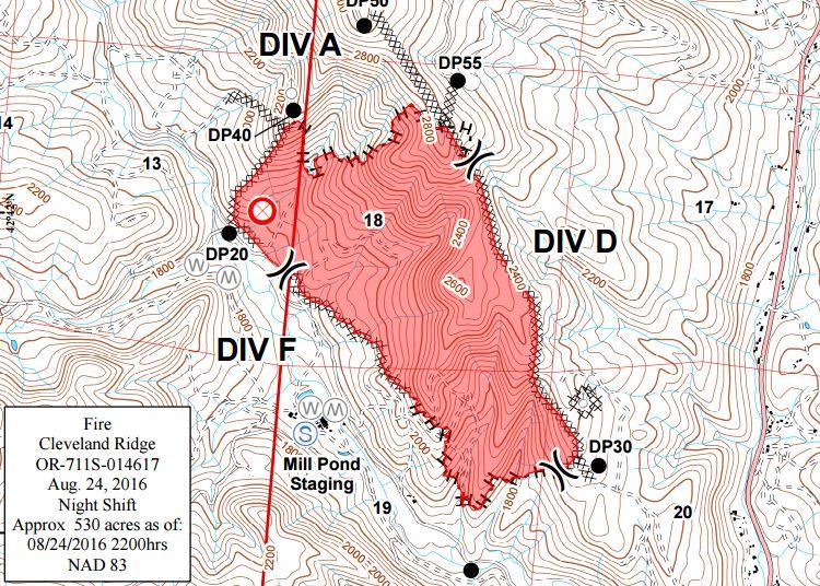 Spokane Complex Fire Map.Northwest Interagency Coordination Center 8 25 16 Cleveland Ridge Fire