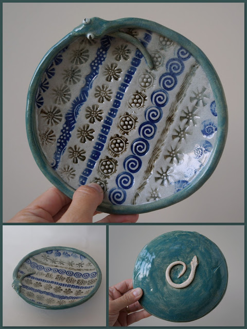 Beautiful handmade stamped snake plate, pottery by Lily L.