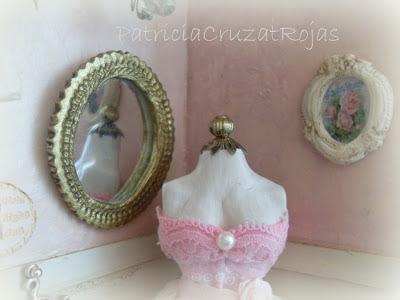 Patricia cruzat artesania y color cuadro cuarto de costura con miniaturas para ellas - Cuadros shabby chic ...