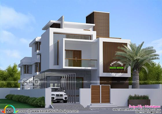 5 bedroom Box model three storied Kerala home design