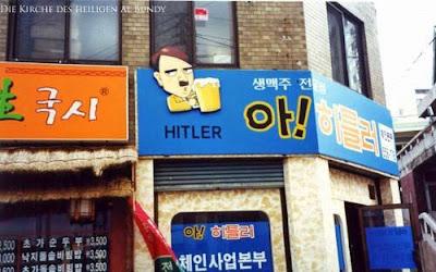 Witzite Firmenlogos Hitler mit Bier Geschäft