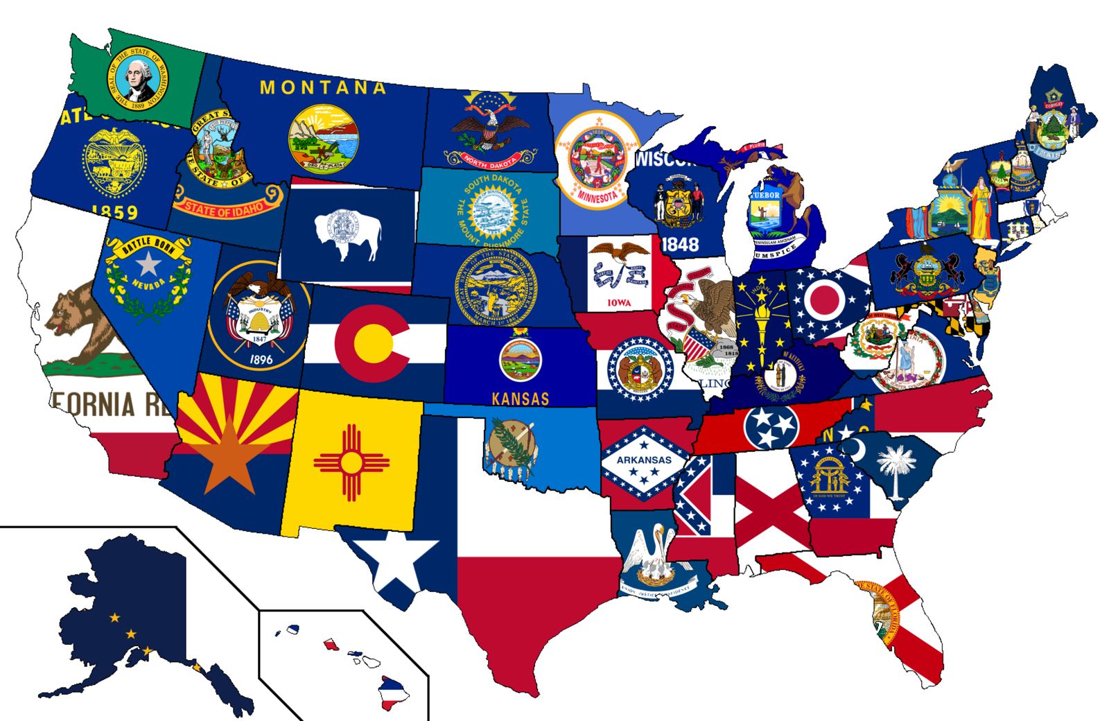 Our U.S. state and territory flags come in a wide variety of sizes and conform to all official specifications. Emblems and designs are executed with the highest possible degree of accuracy in regard to detail, color shades, placement and proportion to flag size.