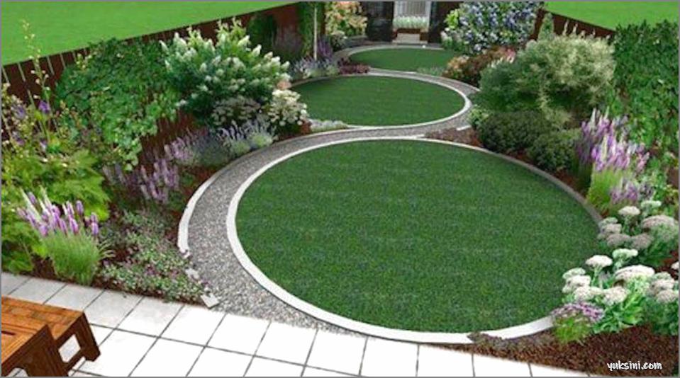 desain taman dengan jalan setapak melingkar