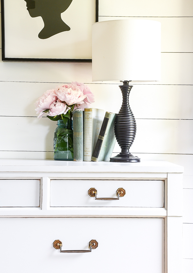 Light gray painted vintage Century dresser