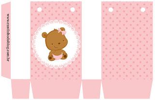 Caja para Imprimir Gratis de Osita Bebé en Rosa con Lunares.