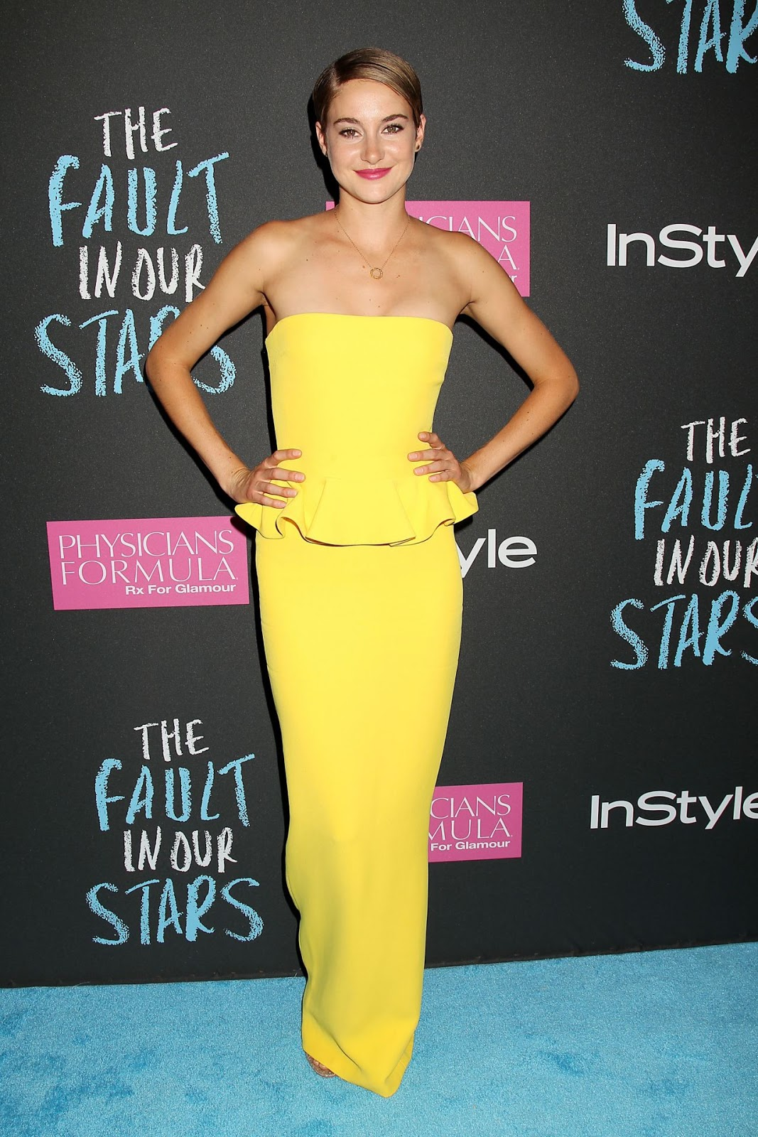 Shailene Woodley in a strapless Ralph Lauren dress at 'The Fault in Our Stars' NY Premiere