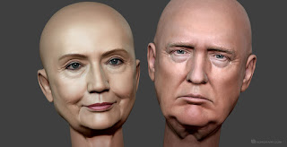 Donald Trump and Hillary Clinton digital sculpture. 3D model for CNC, 3d printing, mold making.