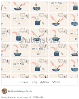 51788bc1fd1 National Spaghetti Day Postage Stamps. Hand Drawn Seamless Vector Pattern  Set. Cooking Pasta Food