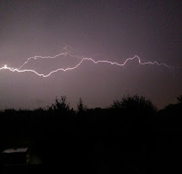 A horizontal bolt of lightening against a dark sky