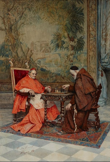 "artwork, XIX art, watercolours, ""The game of chess"" by Publio de Tommasi, 1882."