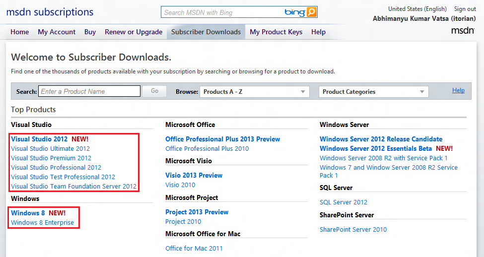 Windows 8 RTM for MSDN/TechNet Subscribers & Visual Studio