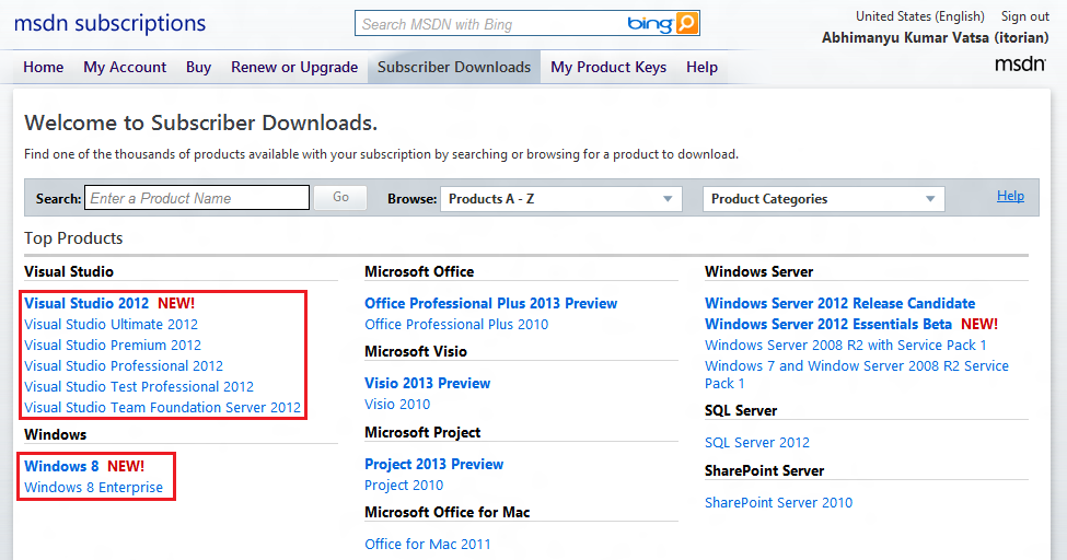 Windows 8 RTM for MSDN/TechNet Subscribers & Visual Studio 2012 RTM