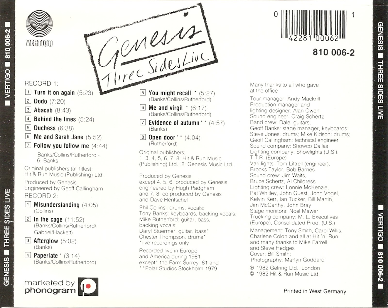 The First Pressing CD Collection: Genesis - Three Sides Live
