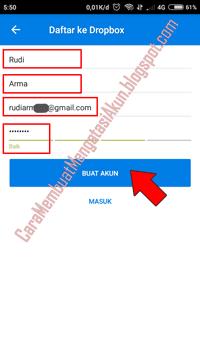 cara mendaftar akun dropbox android