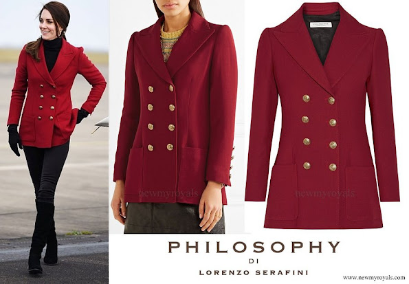 Kate Middleton wore Philosophy di Lorenzo Serafini Double breasted twill blazer